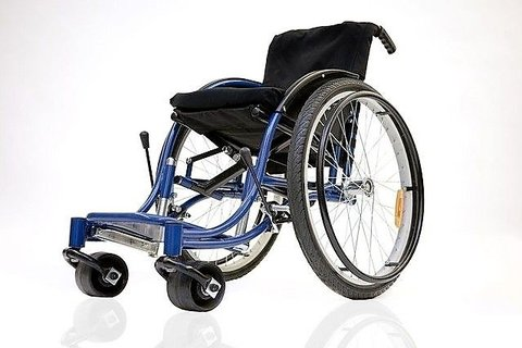 Picture of a RoughRider  Wheel Chair which looks like a standard wheelchair with large rollers for front wheels