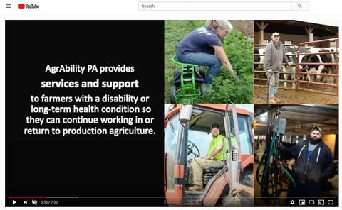 Collage of 4 pictures showing PA AgrAbility clients doing different things on their farms with a black frame next to the 4 pictures and white printing explaining AgrAbility PA services and support