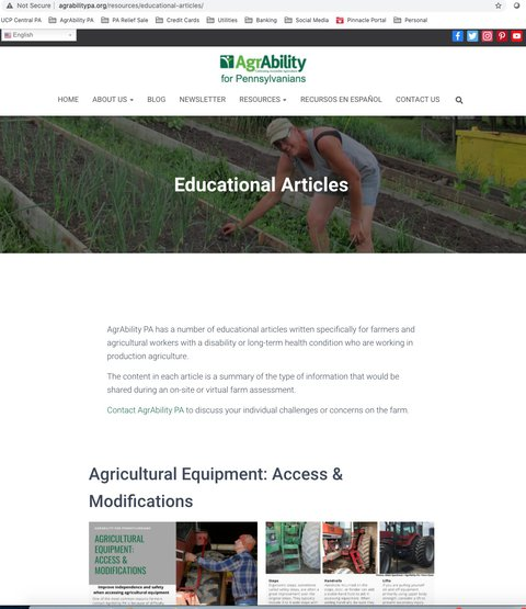 Screenshot of AgrAbility for Pennsylvanians webpage showing the Educational Articles heading.