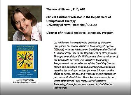 Poster of Therese Wilkomm with her picture and information on her service as director of NH State Assistive Technology Program