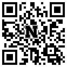 Picture of a square QR code with the letter N in the middle of it