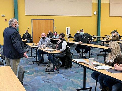 Representative Jim Baird speaking to AgrAbility-FVC farmer veterans workshop at Purdue