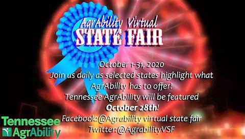 Poster with black background and a red-lit ferris wheel with a blue ribbon in front of it and the words - AgrAbility Virtual State Fair in large white print with smaller printing under it with details of the event - in the lower left is the TN SRAP logo