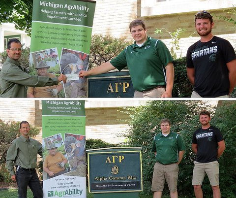 Ned stoller standing on left next to MI AgrAbility poster and two young men from Alpha Gamma Rho standing on right