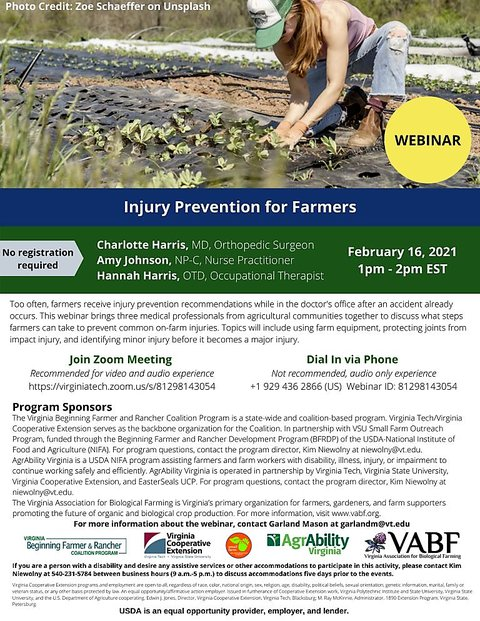 Injury Prevention for Farmers webinar flyer with picture of female in blue jeans kneeling in garden row with printed information underneath the picture.