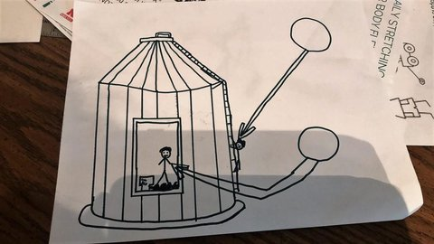 Coloring book page showing stick figures working in/on grain bin