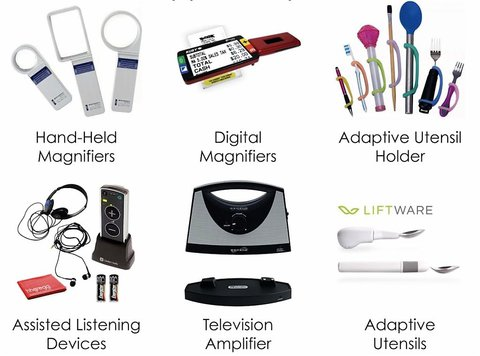 Collage of pictures - magnifying glasses - adaptive utensil holder - assistive listening devices - TV amplifier - adaptive utensils