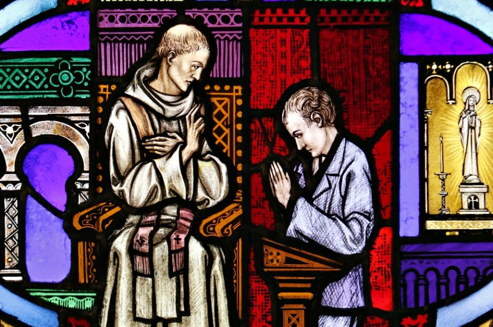 Confession Stained Glass Window