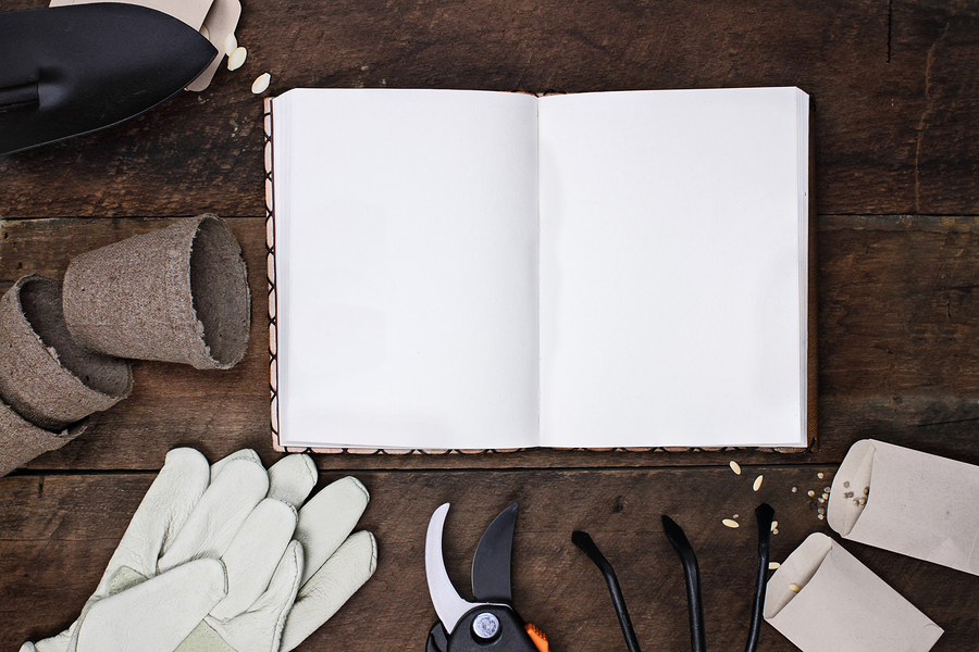 A garden journal surrounded by gloves garden tools and seeds