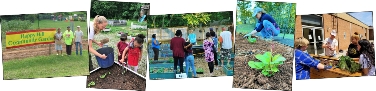 A collage of photos of community gardens