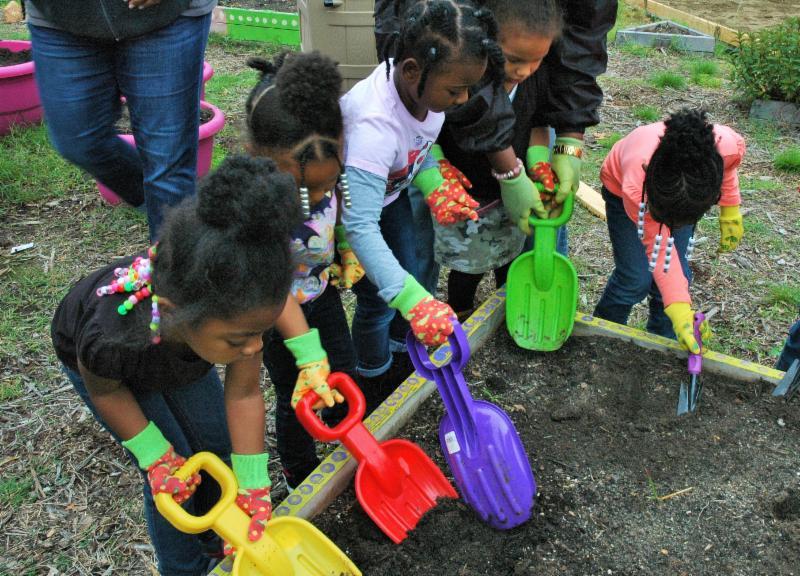 Children digging in a raised bed garden