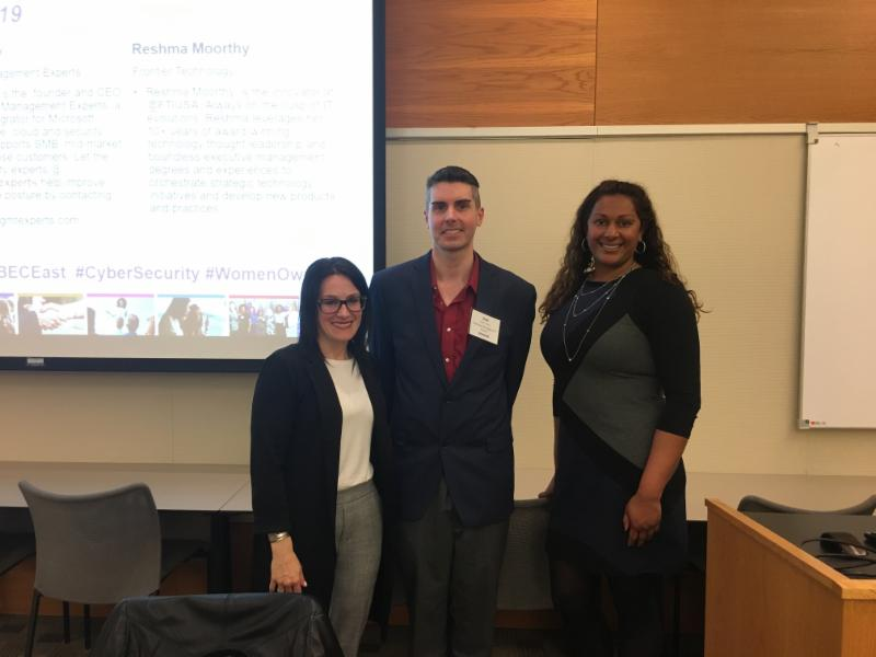 Panelists Reshma Moorthy, Rebecca Rakoski and Matthew Tinney.