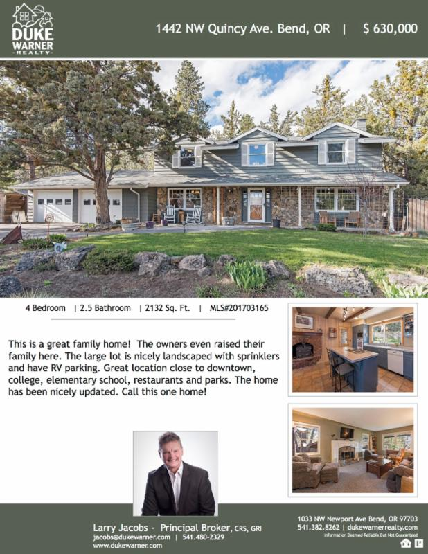 New Listing! 1442 NW Quincy Ave., Bend on