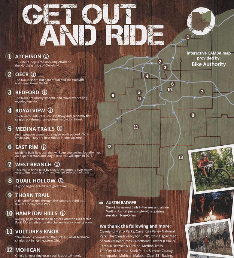 Bike Trails In Ohio Map.New Interactive Northeast Ohio Mountain Bike Trail Guide