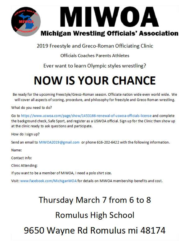What's New in Michigan Wrestling! Wrestling Officials Training