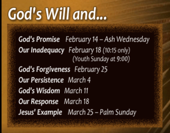 Friday Email from FCC: God's Will and Jesus' Example