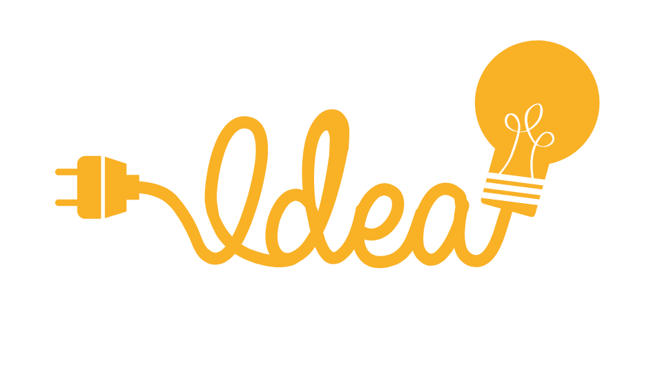 Idea written in cursive with a plug on one end and a light bulb on the other