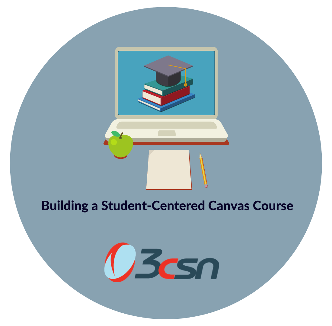 circle logo with a laptop with mortarboard and books apple pad and pencil and the 3csn logo below