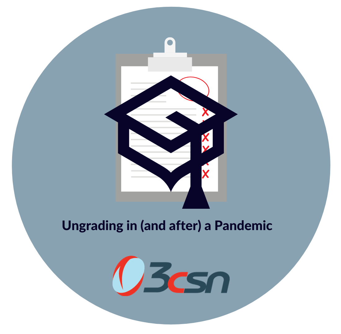 logo with a clipboard with a paper with red mark grading and a  mortarboard with tassle with ungrading in and after a pandemic written above the 3csn logo