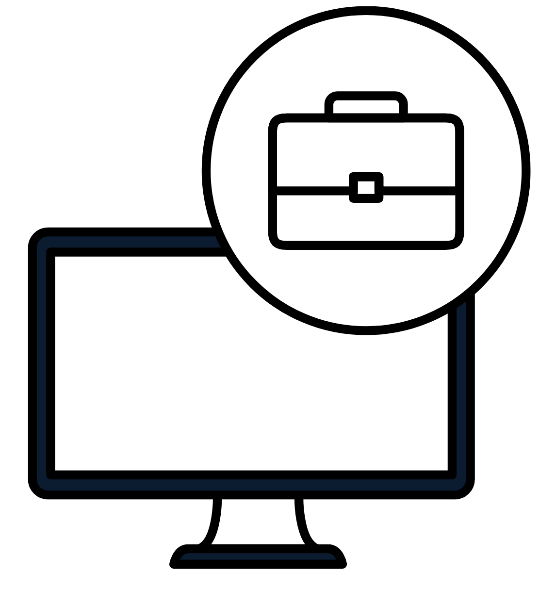 Picture of a computer monitor and a circle above it with a briefcase/portfolio in it