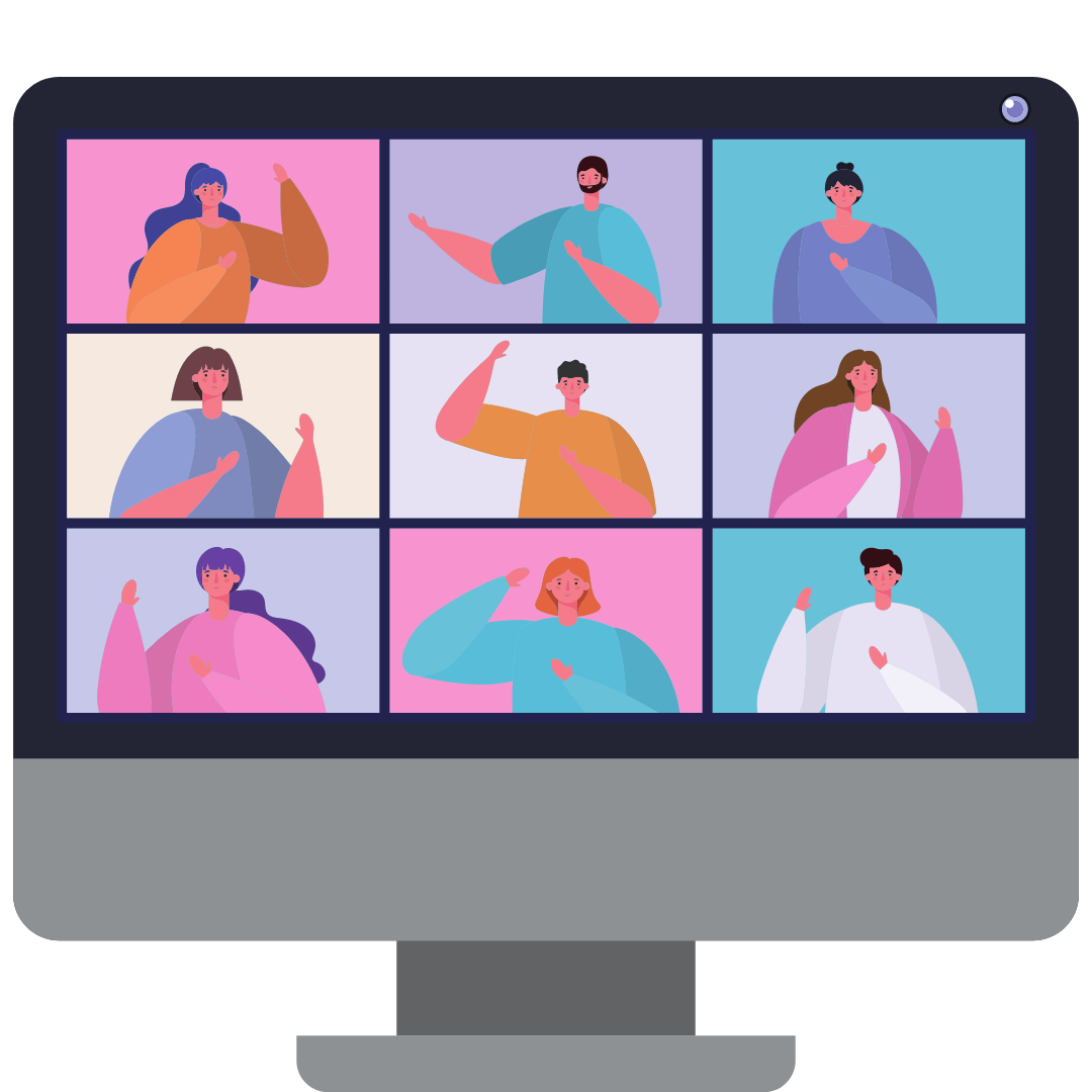 Image of a computer screen with nine windows in which cartoon versions of people with beige skin in colorful outfits are engaged in discussion.