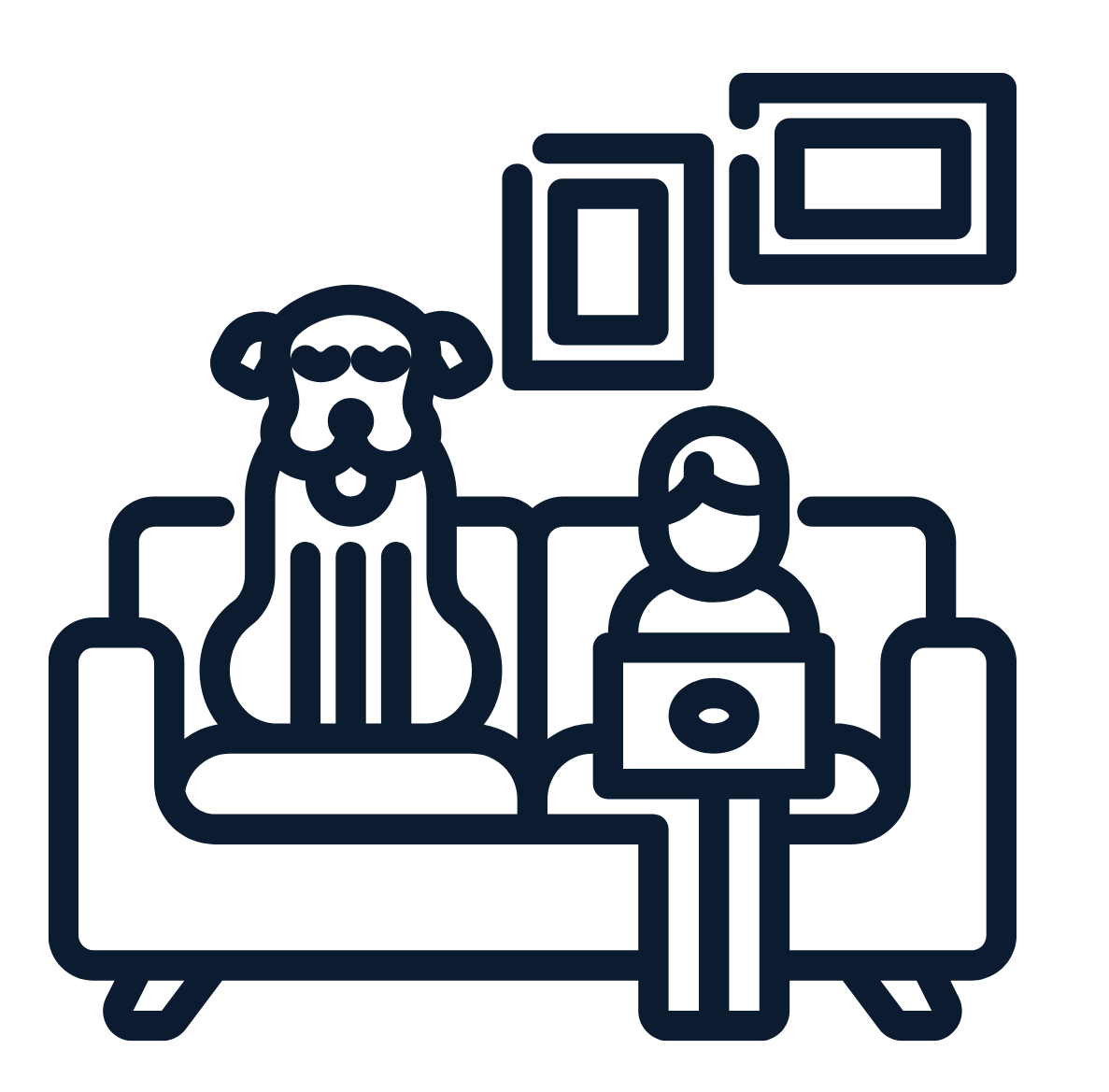 Image of person and dog sitting on a couch; person is holding a laptop