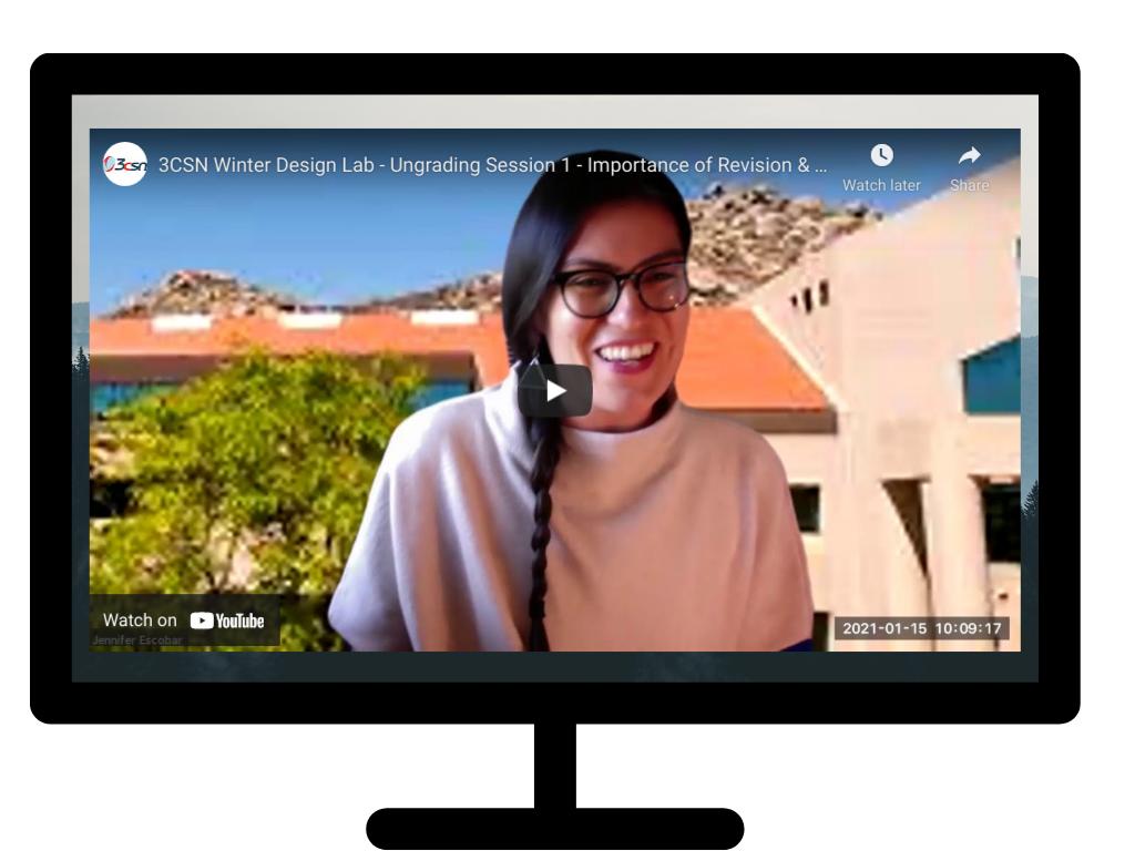 Screenshot of Jennifer Escobar inside of a computer screen.  Links to video.