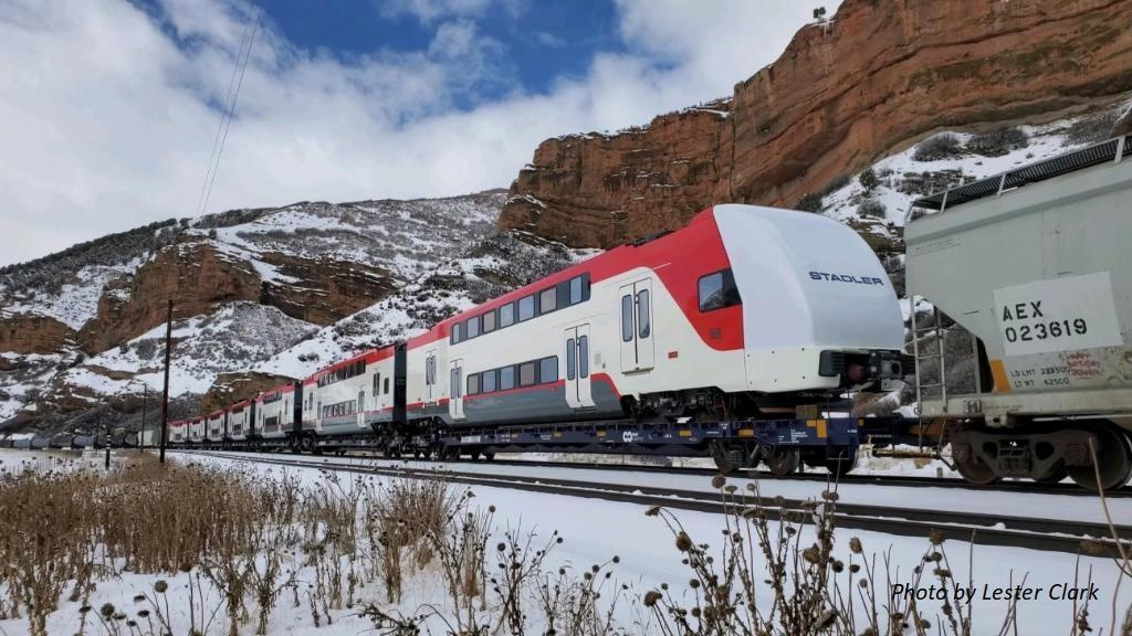 First electric trainset traveling to Pueblo testing facility.