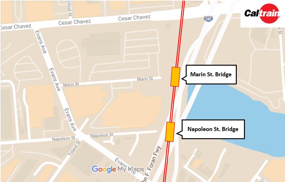 Map of Marin & Napoleon Bridge location