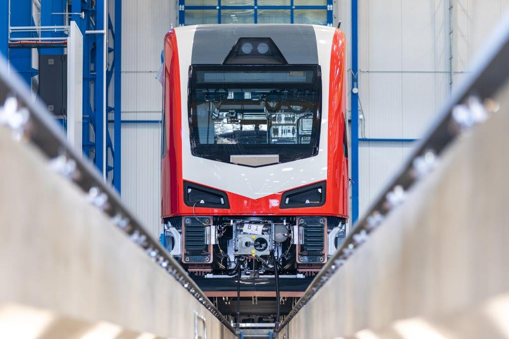 Front shot of a train being finished at the Salt Lake City facility