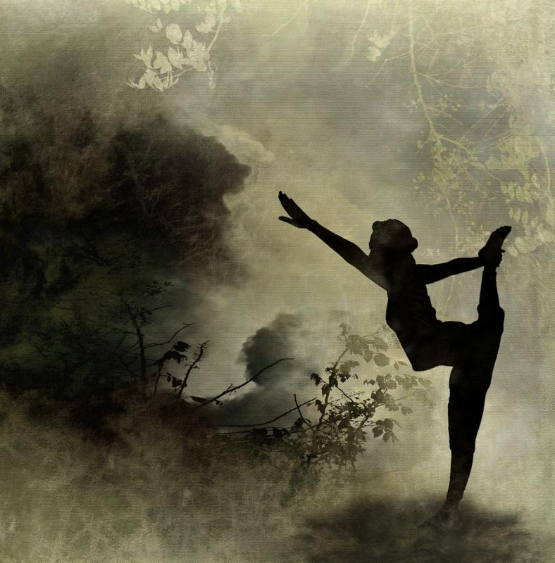 Silhouette Yoga Art Background on Canvas Background