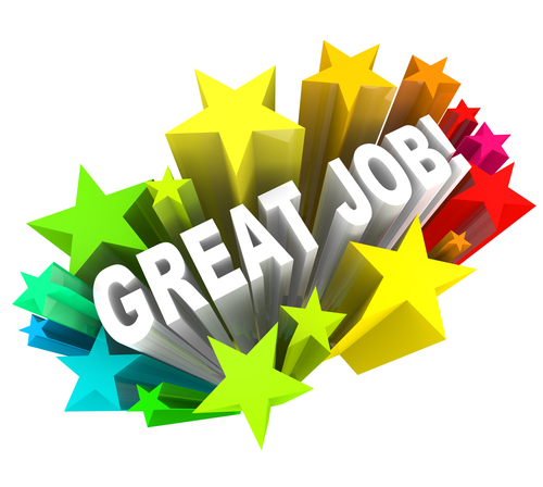 The words Great Job surrounded by a burst of colorful stars_ communicating good praise for a project accomplished and successful goal attained
