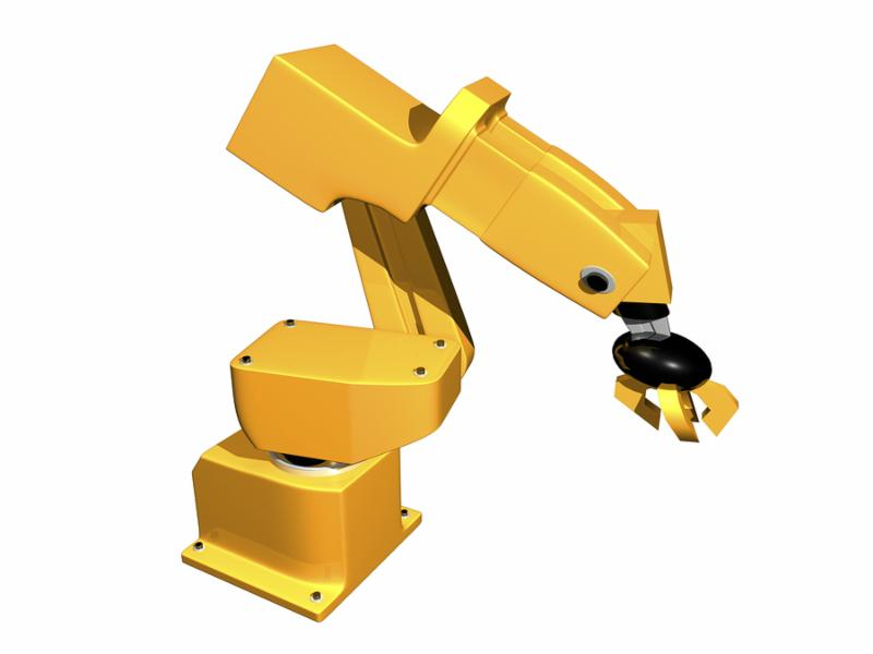 3D Orange robotic arm on isolated white background