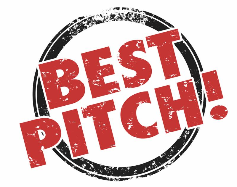 Best Pitch words in a red and black ink grunge style stamp to illustrate the top, most convincing and persuasive presentation or proposal