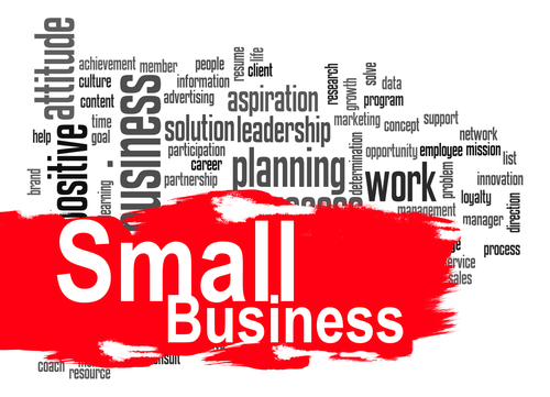Small business word cloud image with hi-res rendered artwork that could be used for any graphic design.