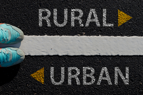 Rural Urban with arrow different way concept to choose way to urban or rural