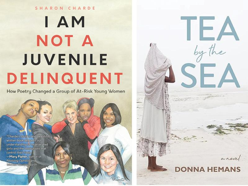 Book covers for I AM NOT A JUVENILE DELINQUENT by Sharon Charde and TEA BY THE SEA by Donna Hemans