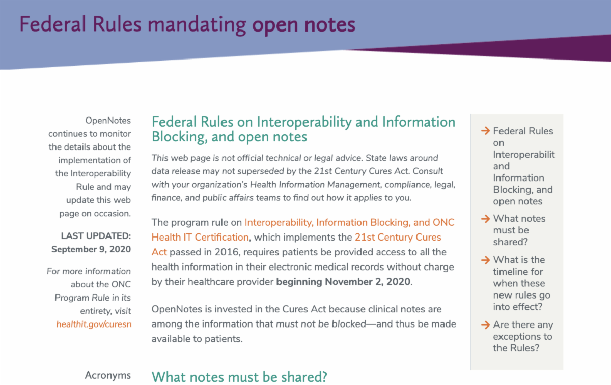 Federal Rules mandating open notes