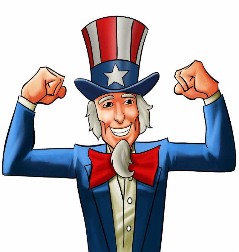 uncle sam very happy he got his fists up