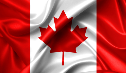 Canada flag in the old retro background effect_ close up