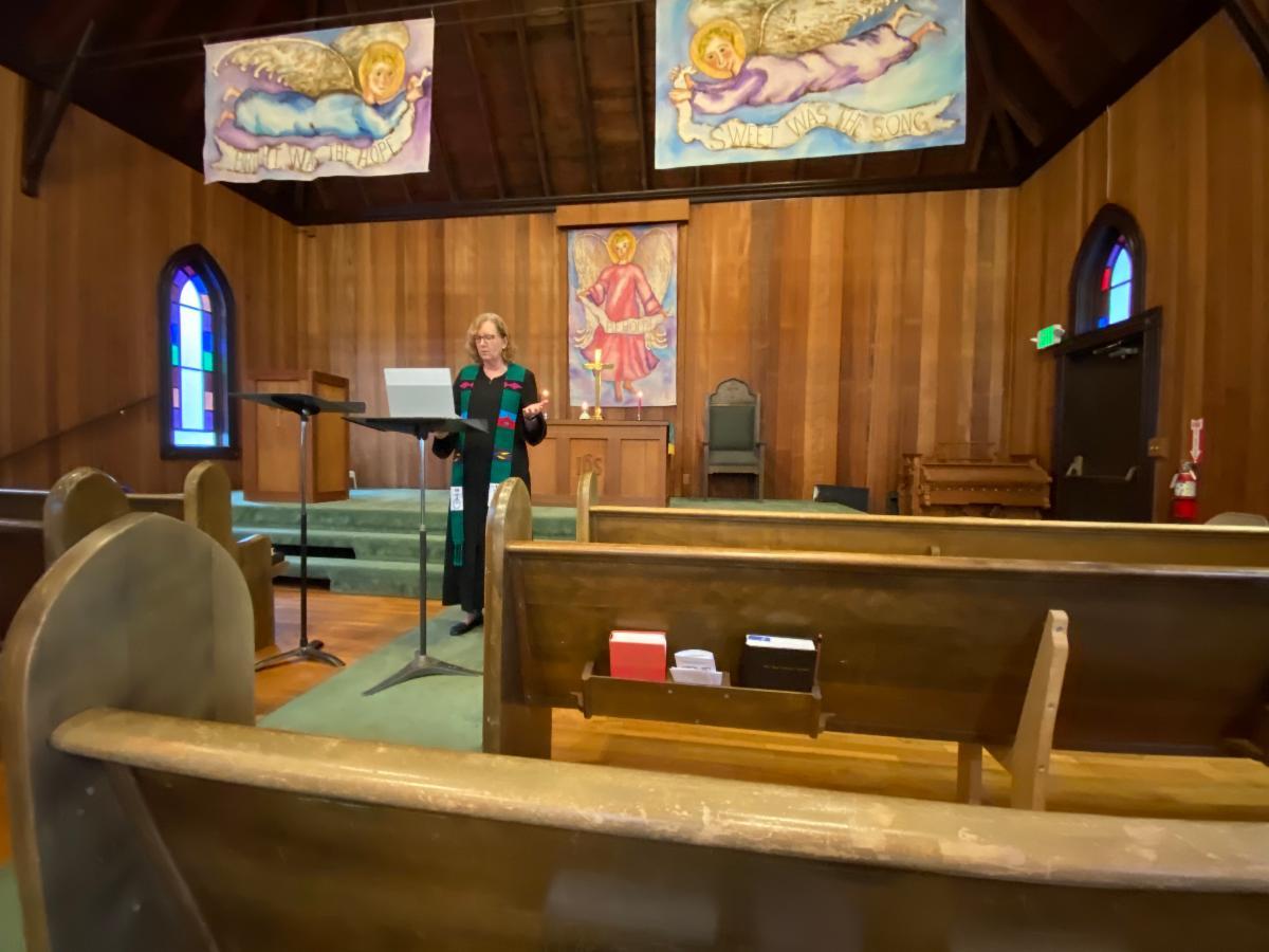 Melanie preaching