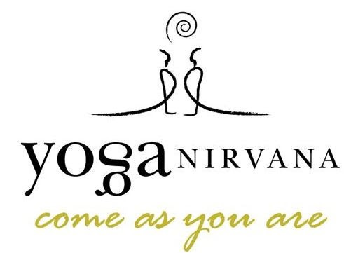 Yoga Nirvana Studio logo with tagline Come As You Are as letters under line drawings of two stylized figures facing each other in upward facing dog pose with a spiral sun or moon hovering between them over their heads
