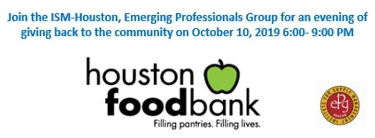 Houston Food Bank and Institute of Supply Management - Volunteer opportunity on October 10 from 6-9pm