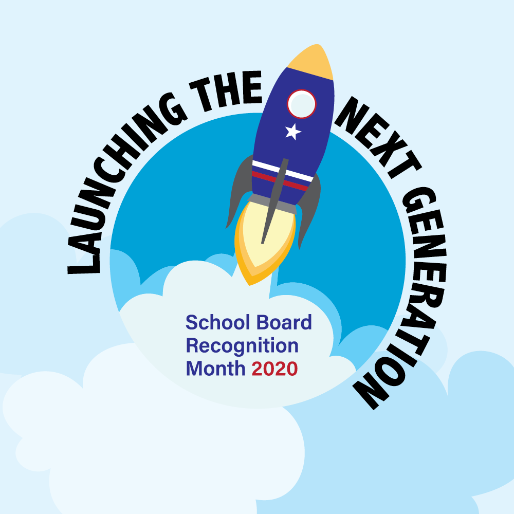 School Board Appreciation Month logo launching the next generation with rocket