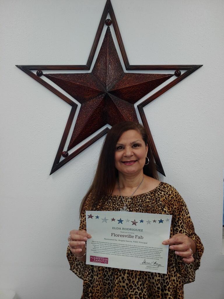 Woman with award