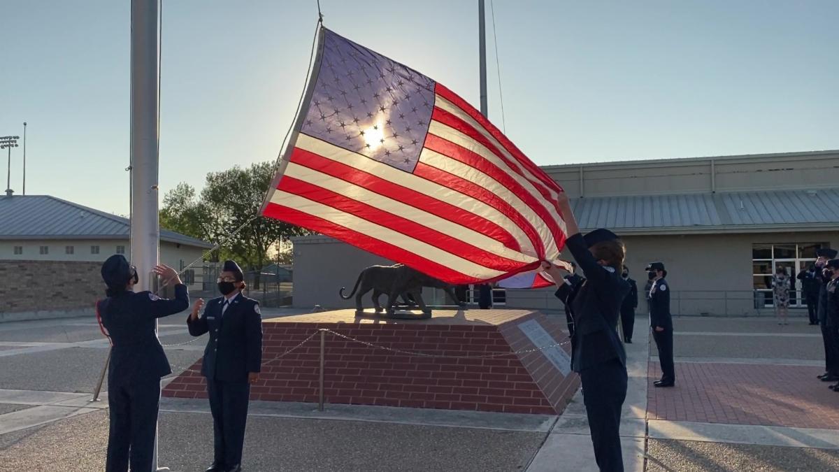 ROTC Raising the U.S. Flag
