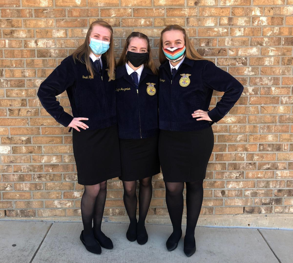 FFA students with uniforms and masks