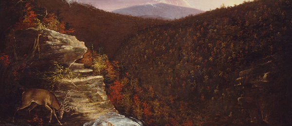 """An autumn landscape with a deer in the foreground and mountain in the background makes up the painting, """"From the Top of Kaaterskill Falls """"by American painter Thomas Cole."""