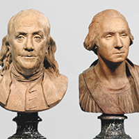 Benjamin Franklin, 1778, Jean-Antoine Houdon, French; terra cotta on separate marble base. (right) George Washington, 1786, Jean-Antoine Houdon, French; terra cotta on separate marble base. Courtesy of the Musée du Louvre, Paris.