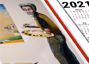 """African American Art 2021 wall calendar featuring Benny Andrews' """"Portrait of a Collagist,"""" 1989."""